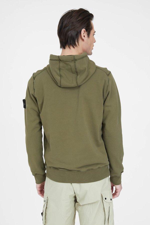 Stone Island Cotton Fleece Garment Dyed Hooded Sweatshirt - Olive