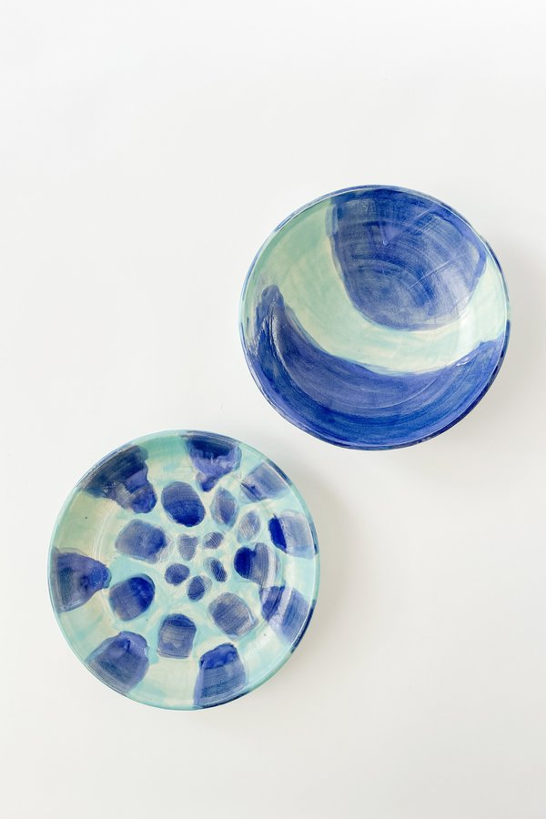 Vintage Hand Painted Ceramic Plate & Bowl Set