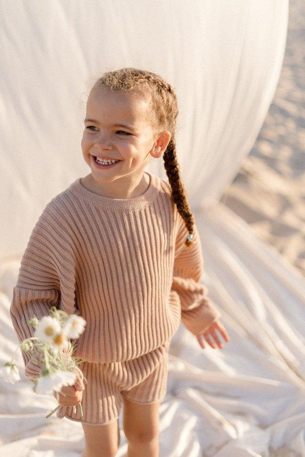 Kids Illoura the Label Essential Rib Knit Pullover - Strawberry