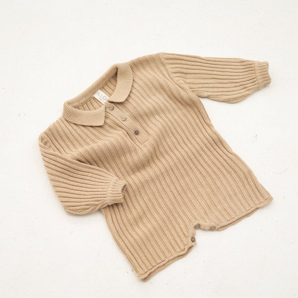 Kids Illoura the Label Essential Rib Knit Romper - Caramel