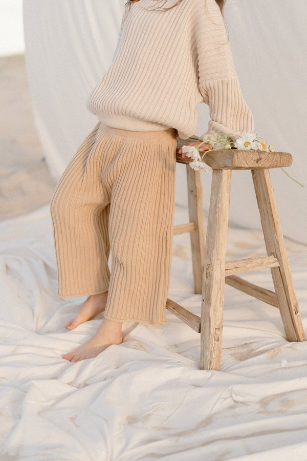kids unisex Illoura the Label Essential Rib Knit Pant - Caramel