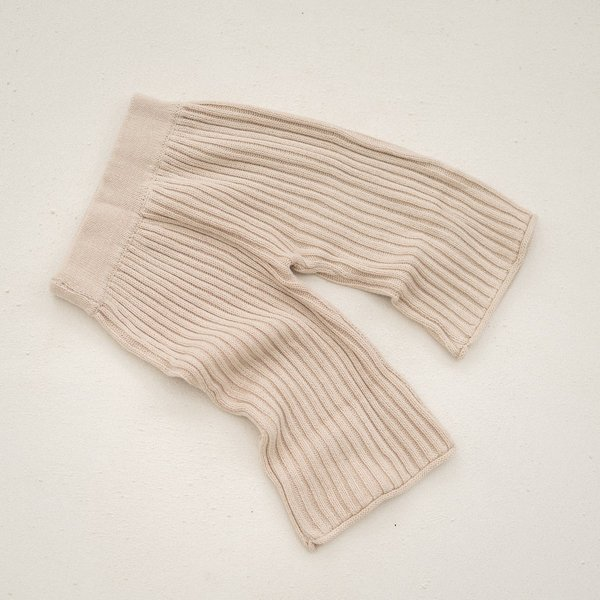 kids unisex Illoura the Label Essential Rib Knit Pant - Biscuit