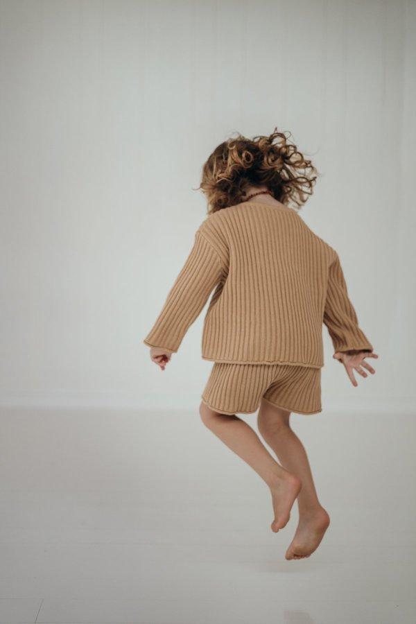 kids unisex Illoura the Label Essential Rib Knit Shorts - Caramel