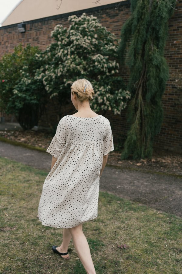 Altar Houseline Mini Marin Polka Dot Dress - white/black