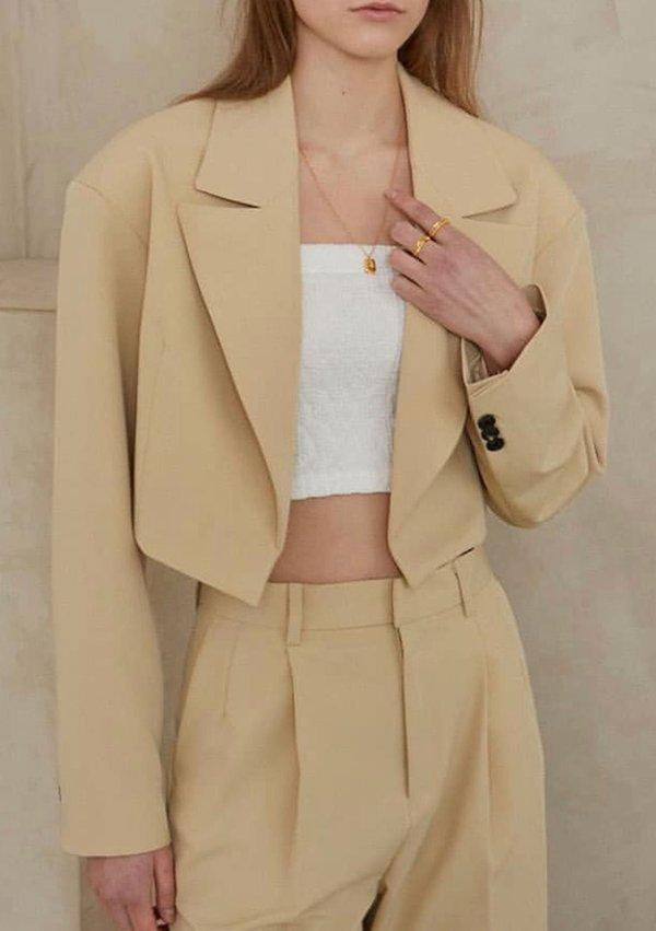W A N T S Cropped Open Blazer - Mellow