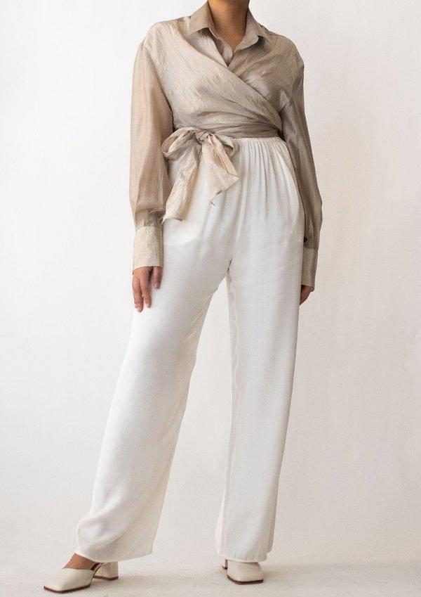 W A N T S Silk Wide Pants - Ivory