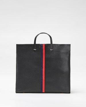 Clare V. Simple Tote - Black Perf/Stripes