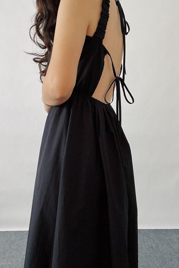 Sllow Open back Tie Dress - Black