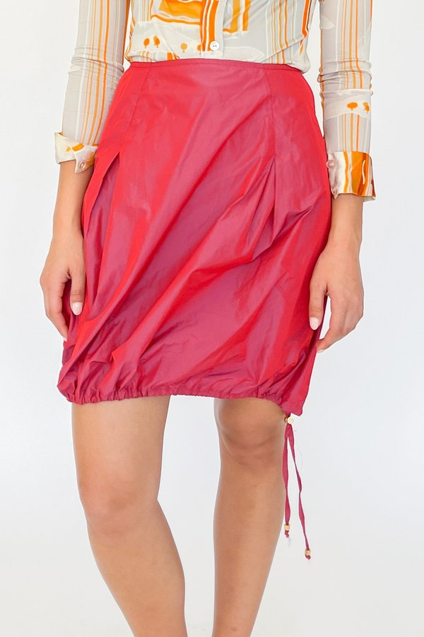 Vintage Iridescent Drawstring Skirt - Berry