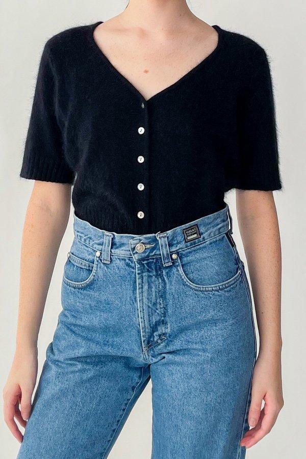 Vintage Angora Cardigan Sweater - Black