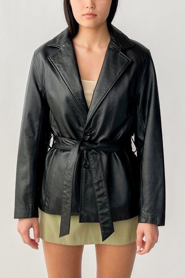 Vintage Leather Wrap Jacket - Black