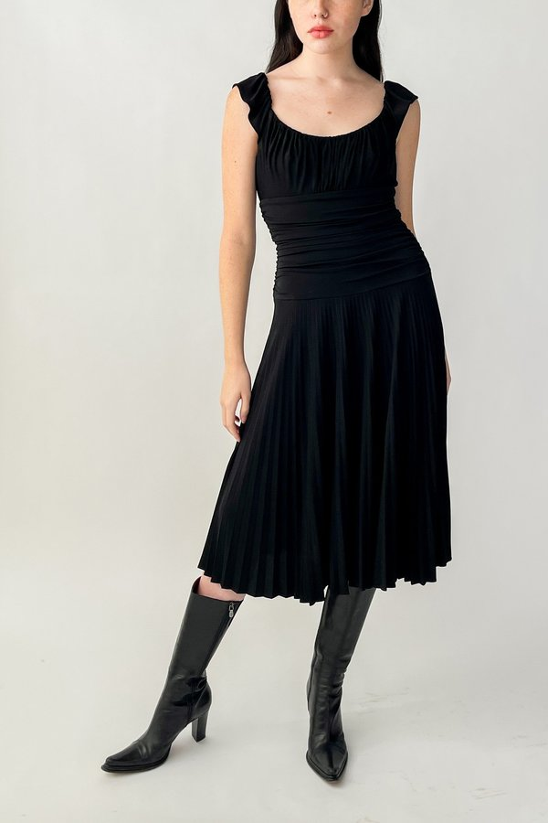 Vintage Pleated Ruched Dress - Black