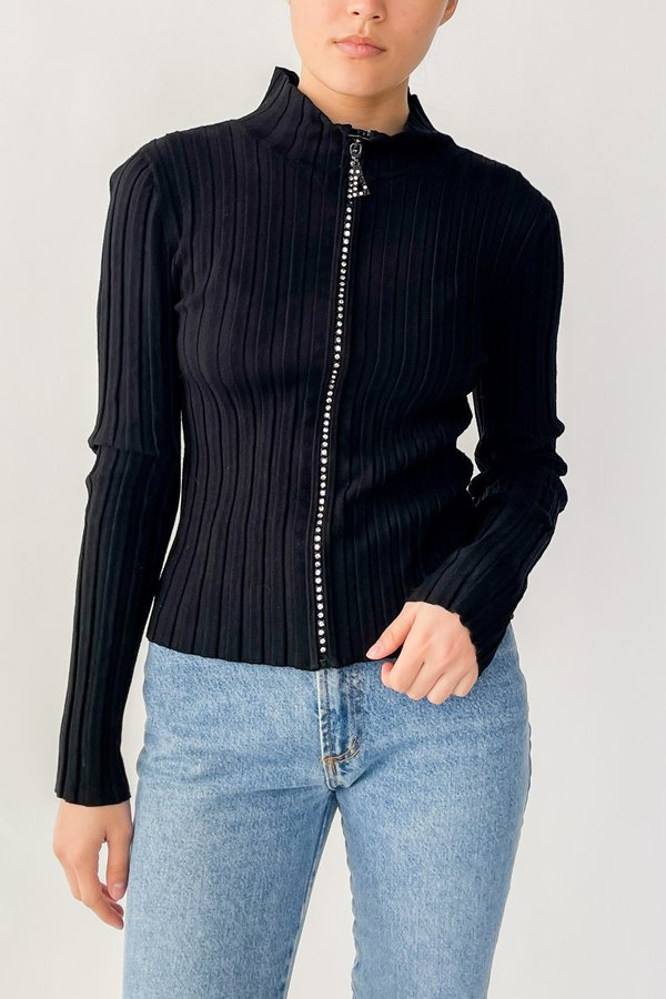 Vintage Ribbed Rhinestone Zipper Top - Black