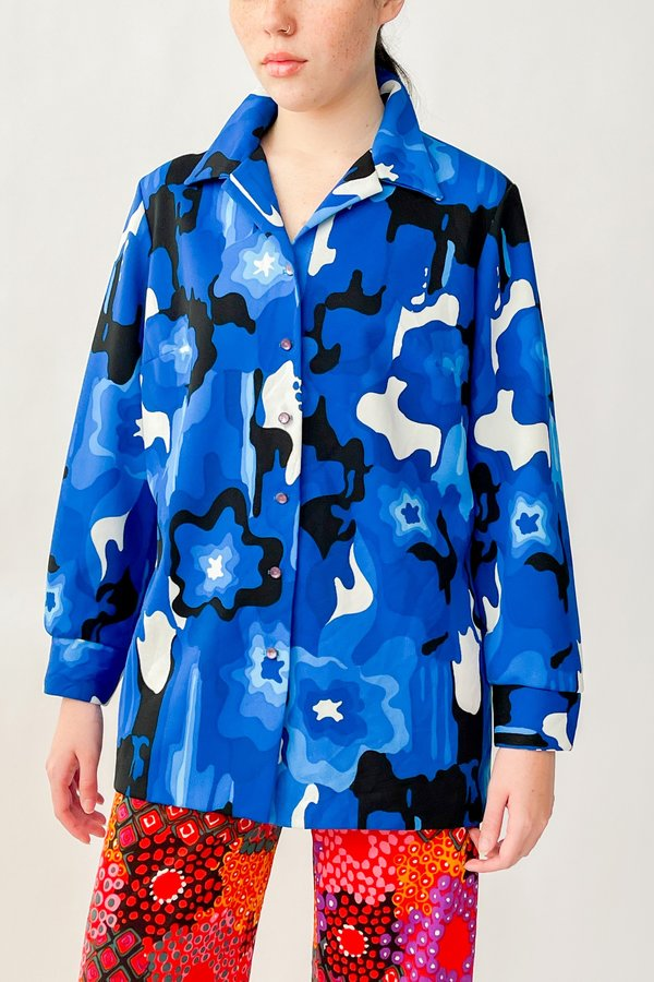 Vintage Abstract Squiggle Print Blouse - Cobalt
