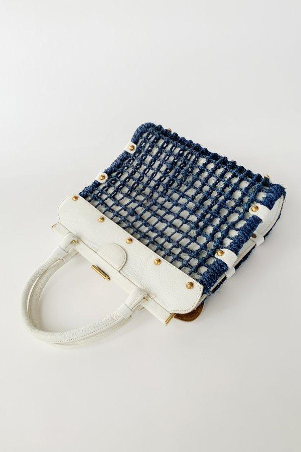 Vintage Crochet Net Sunday Purse - Navy