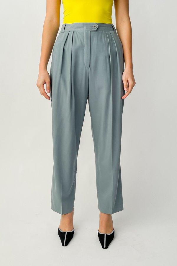 Vintage Escada Pleated Trousers - Slate Blue