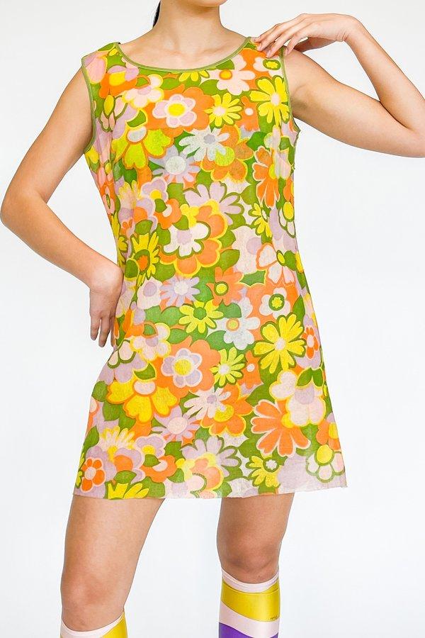 Vintage Flower Print Biodegradable Dress