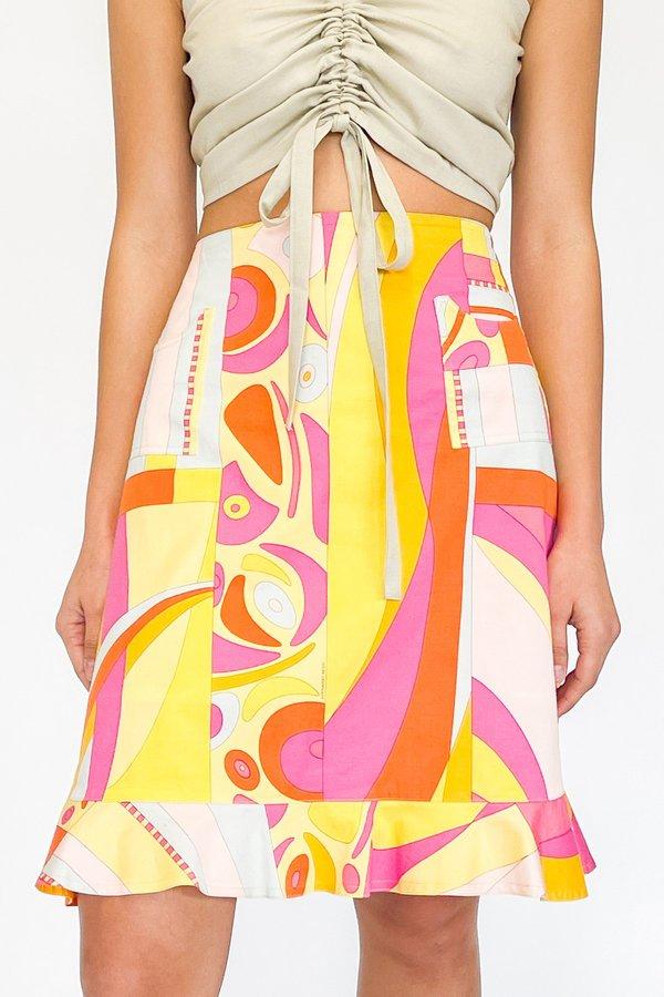 Vintage Geometric Print Ruffle Skirt