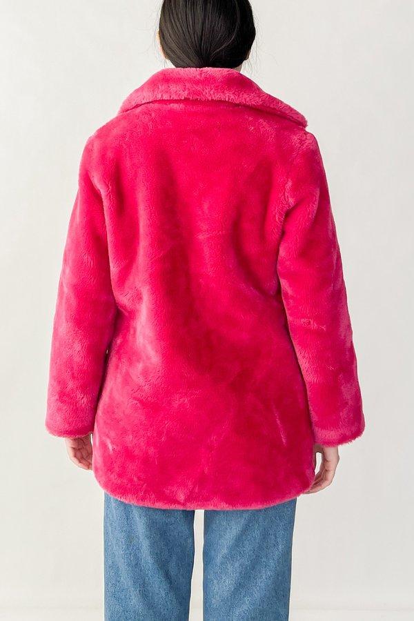 Vintage Faux Fur Teddy Coat - Hot Pink
