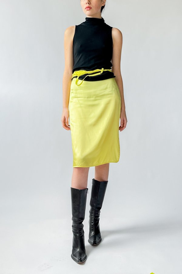 Vintage Rhinestone Slip Skirt - Lemon