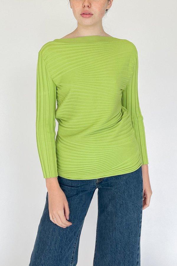 Vintage Ribbed Knit Shirt - Lime