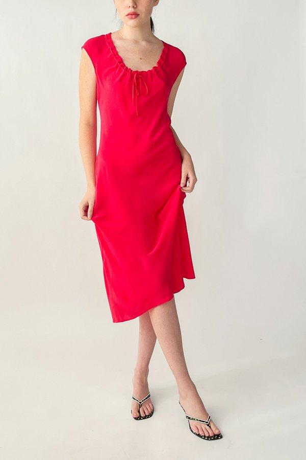 Vintage Ruched Silk Dress - Poppy