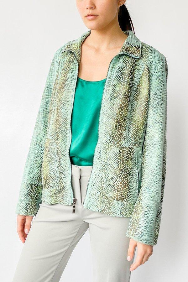 Vintage Snake Embossed Jacket - Sea Foam