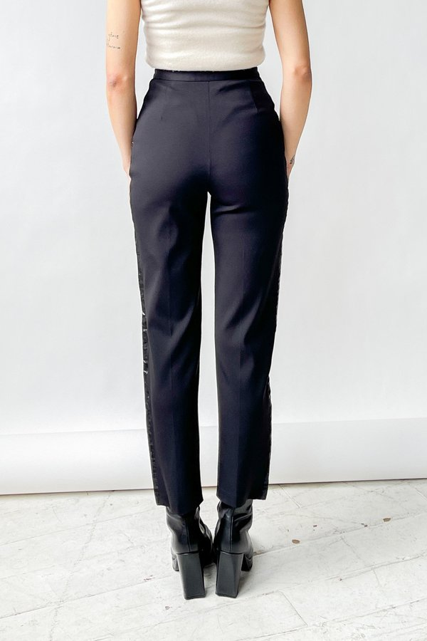 Vintage Versace Patent Trim Paneled Pants - Black