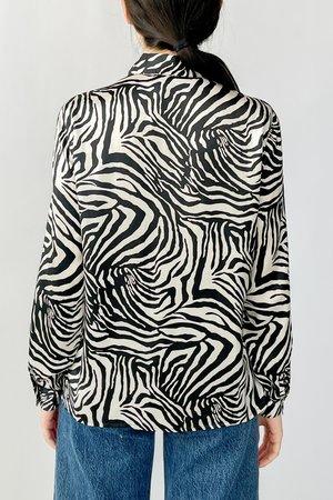 Vintage Silk Blouse - Zebra Print