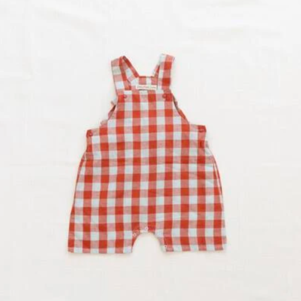 Kids Fin & Vince Short Overall - Picnic Plaid