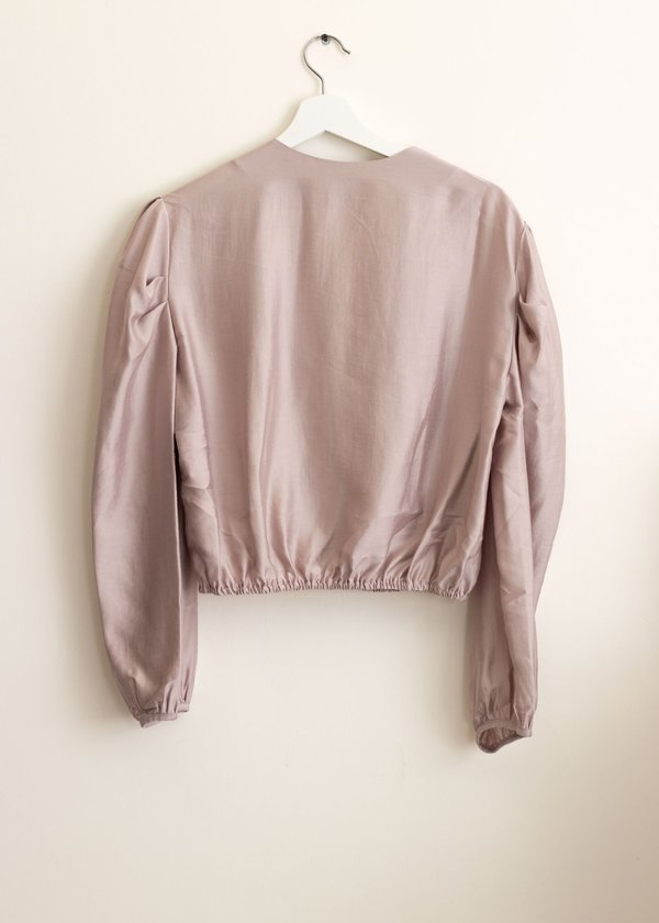 W A N T S Puff Sleeves Cropped Blouse - Lavender