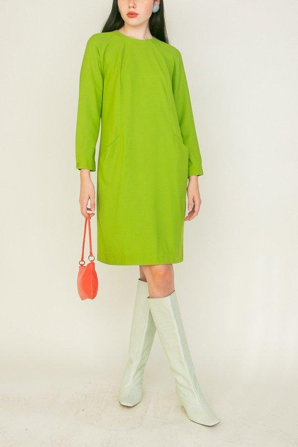 Vintage Lightweight Pocket Dress - Lime