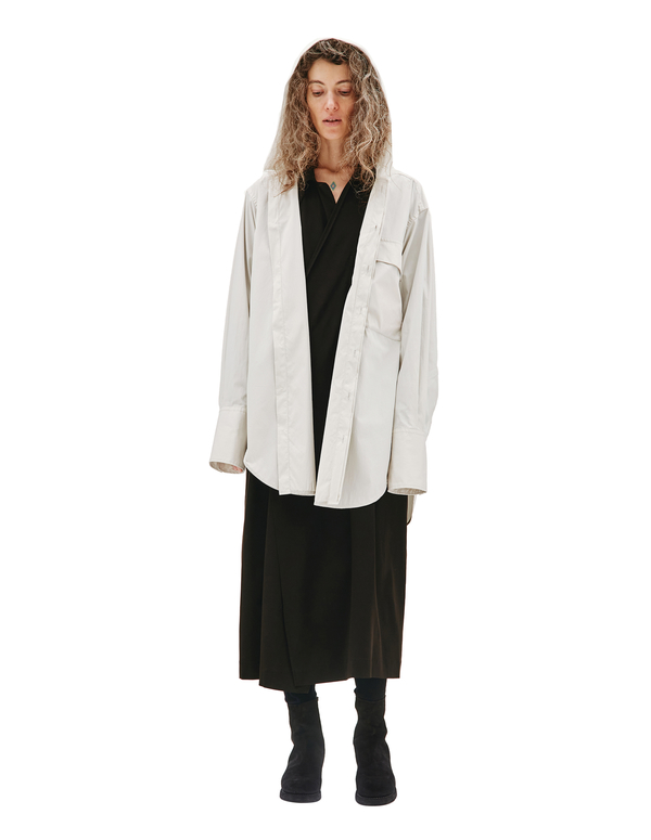 Y's White Cotton Hooded Shirt