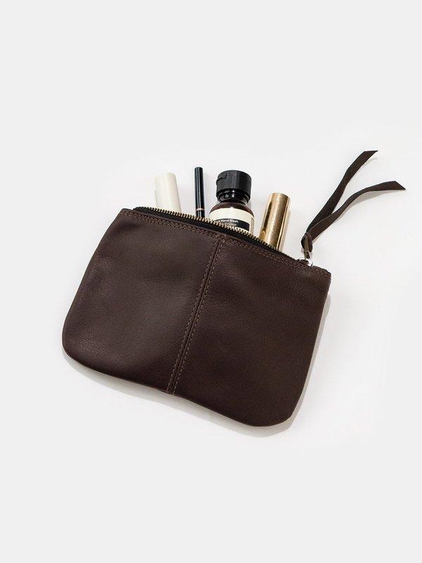 Erica Tanov elodie leather makeup bag - chocolate