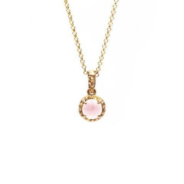 Angela Monaco Matrix Halo Necklace - Gold/Rose Quartz