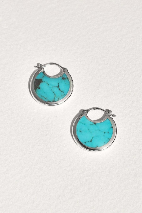Pamela Love Mojave Hoops  - sterling silver/Turquoise