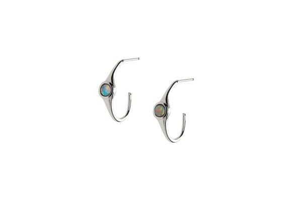 Talon  Opal Mini Hoops - Sterling Silver