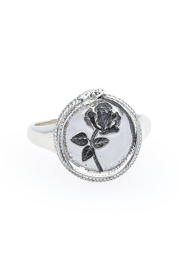Talon Rose Ouroboros Signet Ring - Silver