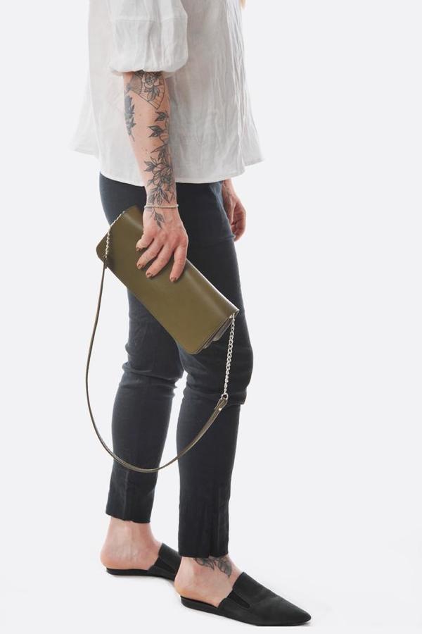 Maria Jobse leather 3 pocket clutch - kiwi