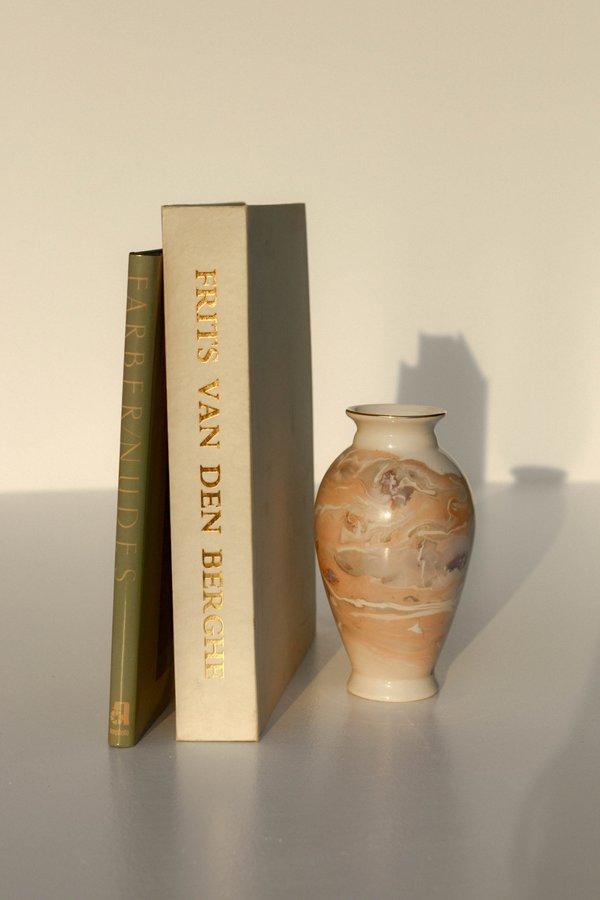 Vintage Marbled Metallic Porcelain Vase