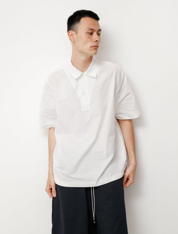 Margaret Howell Faced Polo Shirt - Cotton Linen Off White