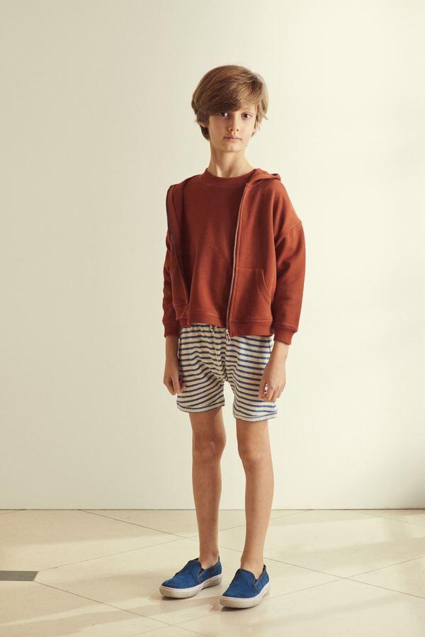 kids Caramel Piranha Shorts - Blue/Ivory Stripe