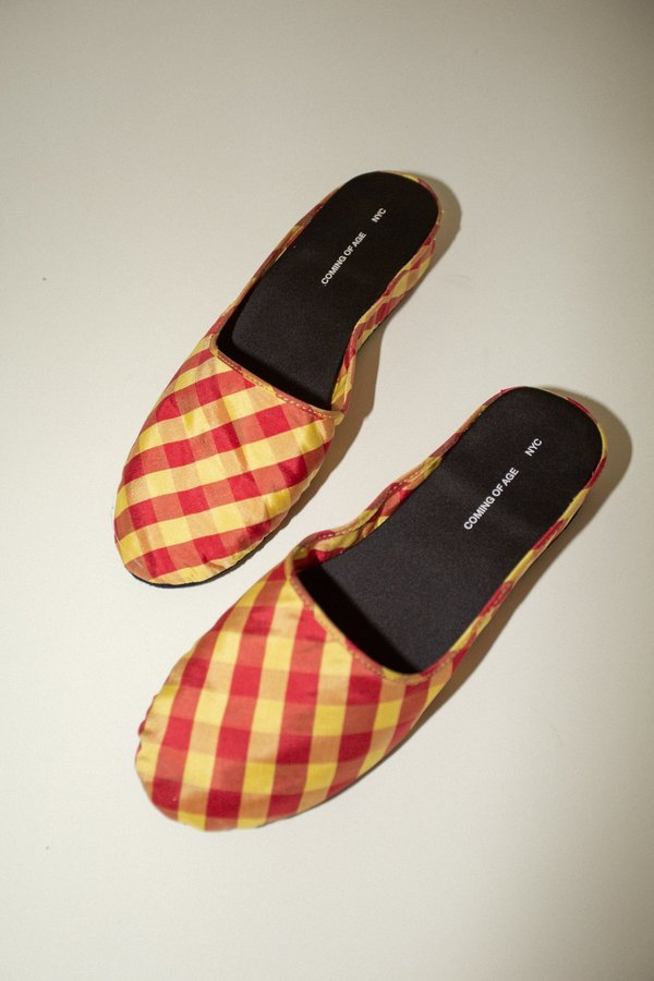 Coming of Age Slipper - Red/Yellow Gingham