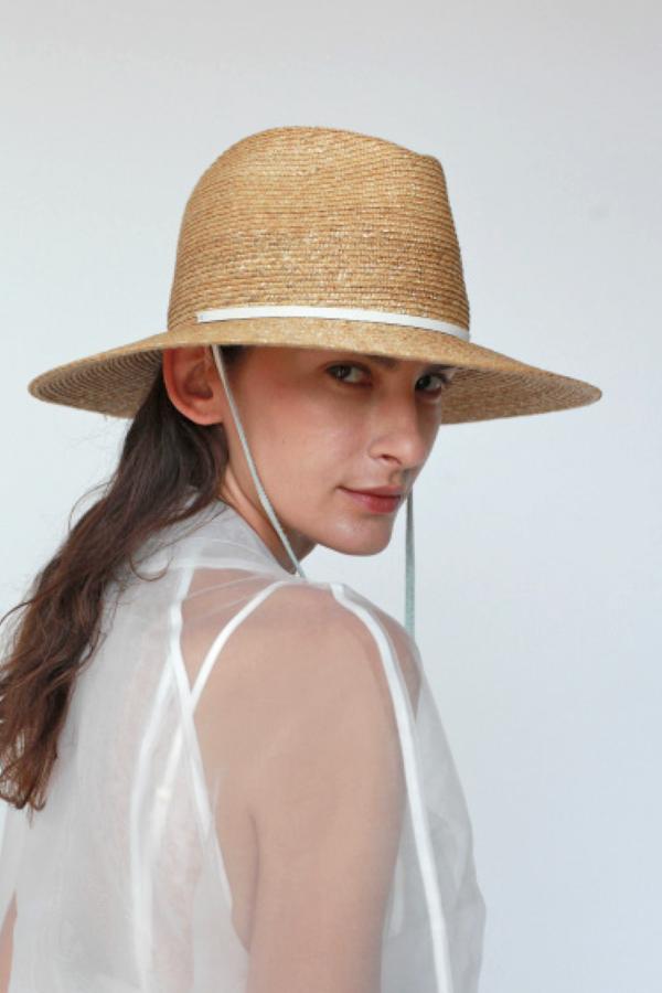 Lola Ehrlich Marseille Bis Straw Leather Strap Hat - natural/white