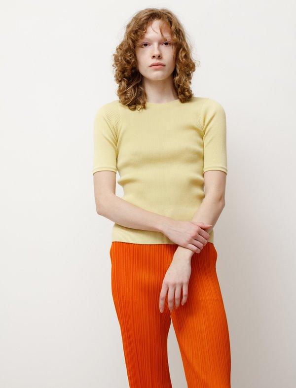 Auralee High Gauge Rib Knit Tee - Light Yellow