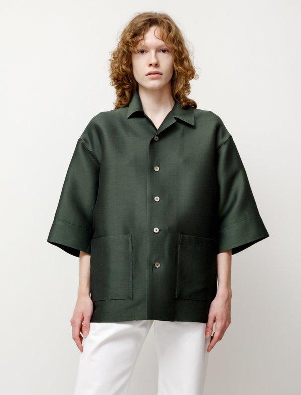 Auralee Silk Cotton Salt Shrunk Pique Big Shirt