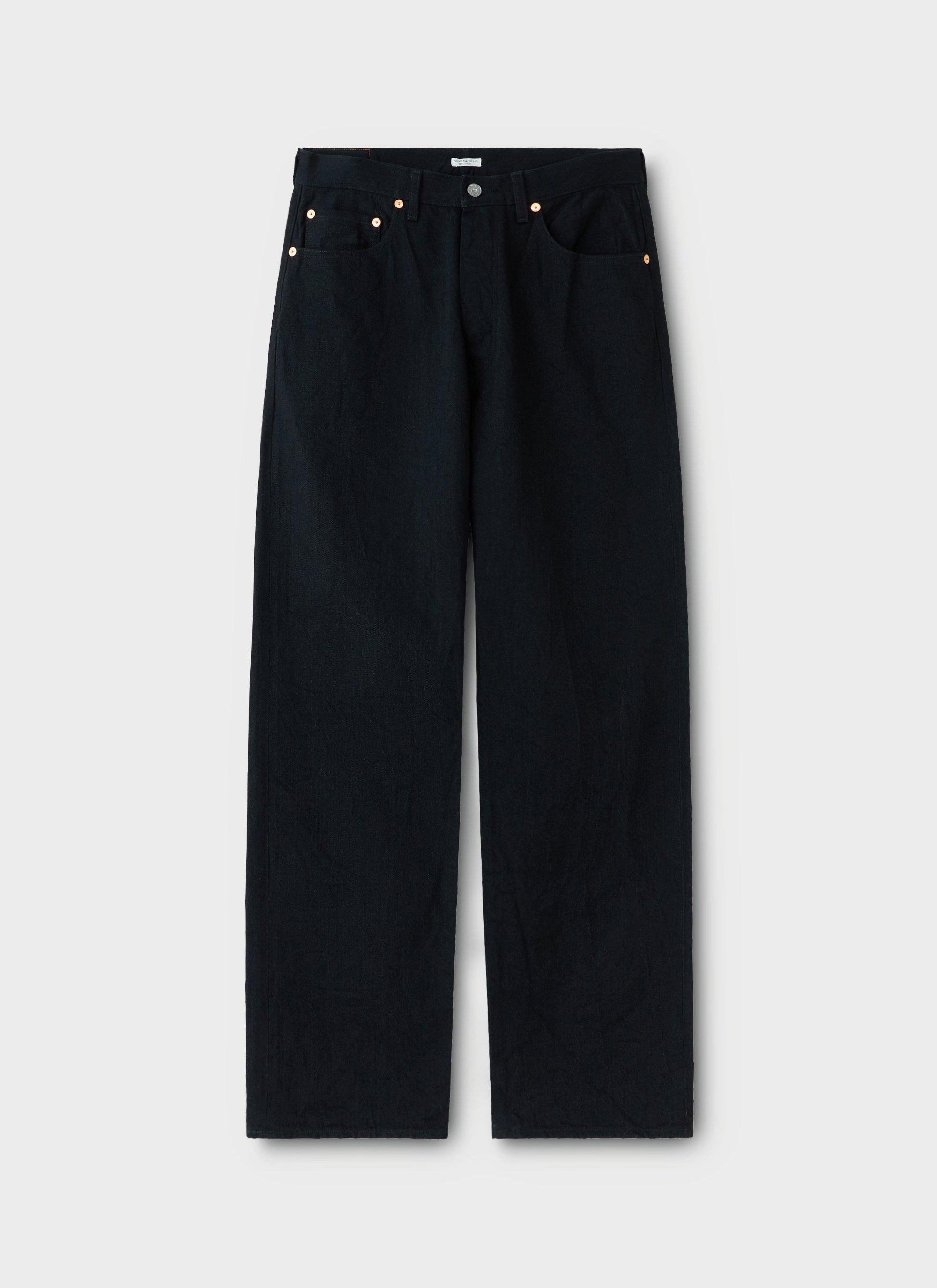 1940s Trousers, Mens Wide Leg Pants PHIGVEL MAKER  Co Classic Black Jean 301-Wide Denim - Black $355.00 AT vintagedancer.com