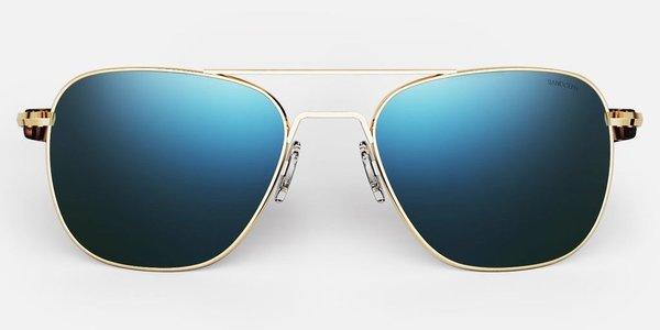 Randolph Engineering Aviator Polarised sunglasses - Gold/Cobalt