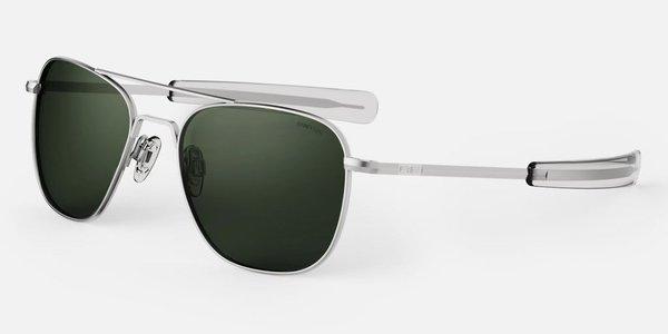 Randolph Engineering Aviator sunglasses - matt chrome/dark green