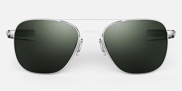 Randolph Engineering Aviator Polarised sunglasses - matt chrome/dark green